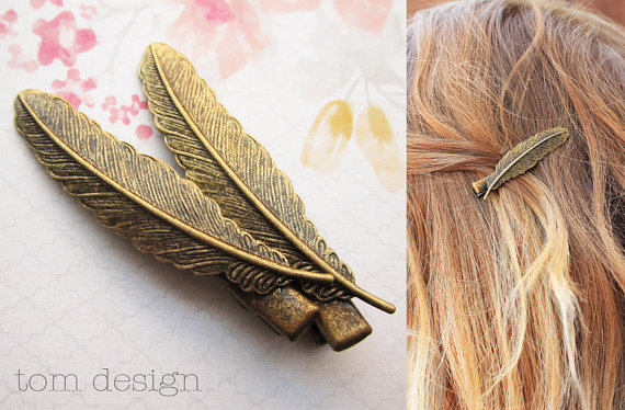 Antique Bronze Feather Hair Clips – Bronze, Gold, Wedding, Bride, Bridesmaid, Barrette, Hair Accessory, Gift by TomDesign