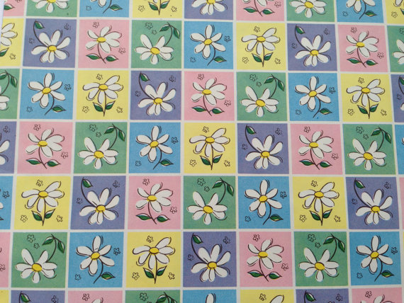 Vintage Gift Wrapping Paper – Floral Spring Daisies – Bridal Shower – All Occasion – Pastel Easter Flowers – 1 Unused Full Sheet Gift Wrap by TheGOOSEandTheHOUND