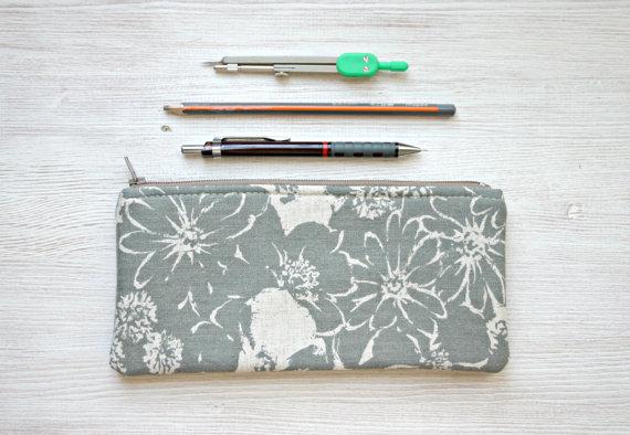 Linen Pencil pouch pencil case Back to school minimal floral grey gray Zen style by HelloVioleta