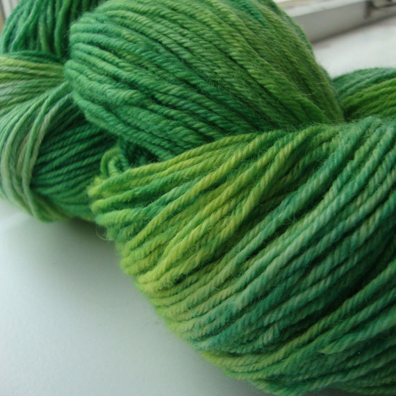 BFL DK yarn, hand dyed green yarn, Made to Order, Greener Pastures by knitsinclass