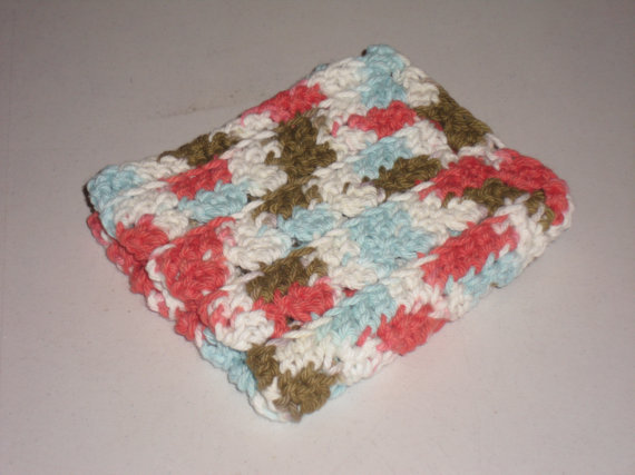 Red, white, blue, and brown crocheted dishcloth or washcloth by micksmakings