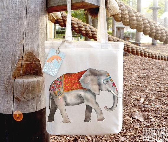 Indian Elephant Fair Trade Tote Bag, Reusable Shopper Bag, Cotton Tote, Shopping Bag, Eco Tote Bag by ceridwenDESIGN