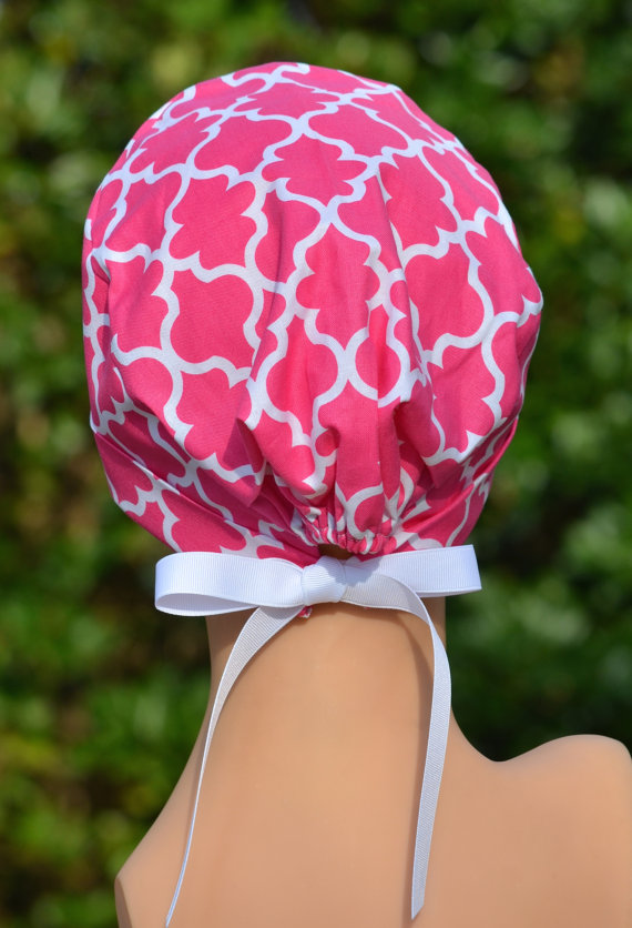 Surgical Scrub Hat Chemo Cap- The Mini with RIBBON TIES- Pink Lattice by thehatcottage