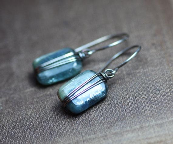 Kyanite Earrings Silver Wire Wrapped Blue Earrings Gemstone Earrings Rustic Jewelry by TheTwistedPretzel