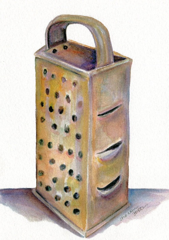 PRINT of my Vintage Box Grater watercolor painting, Original ART, 5 x 7, Culinary, kitchen, dining, food art, kitchen decor by SharonFosterArt