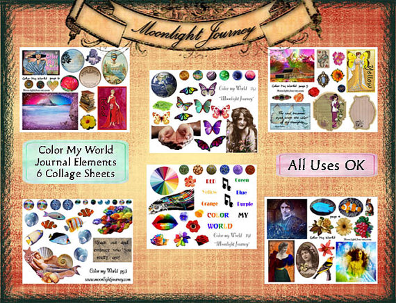 CoLoR My wOrLd JoUrNaL eLeMeNtS six collage sheets sheet set woman vintage words background butterfly flower rose landscape sea shells fish by moonlightjourney