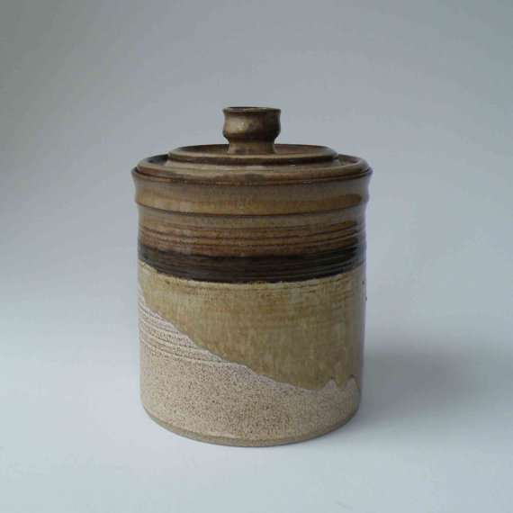 50% OFF, SALE, 4 Cup Canister, Lidded Jar, Kitchen Storage, Rustic Browns, Caramel, Oatmeal, Dark Brown Stripe, Gift Ideas for Her by JanFairhurstPottery