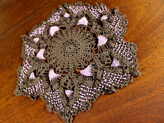 Vintage Beaded Crocheted Doily in Brown and Pink 12271 by VintageKeepsakes