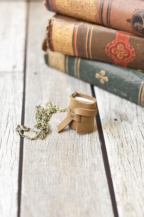 Leather Journal Necklace – Mini Book Pendant by wayfaringart