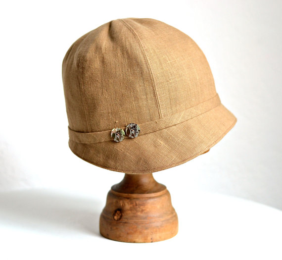1920s Linen Cloche with Vintage Shell Buttons by HatsWithAPast