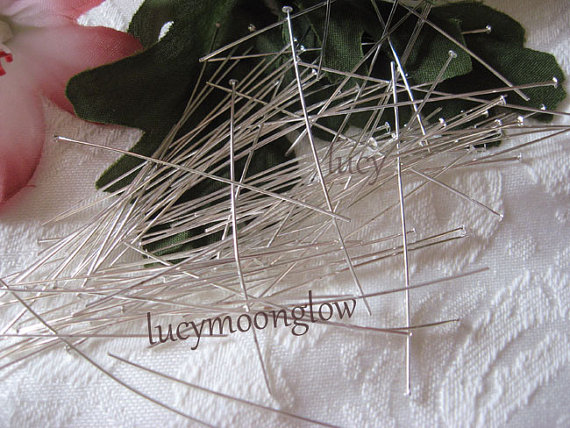 50 Silver Plated Head Pins 50mm ~ 2 & quot; long by lucymoonglow