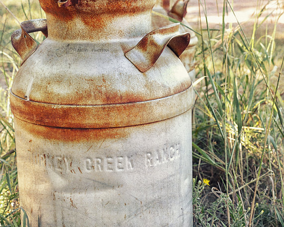 Farmhouse Chic Decor, Rustic Photography, Country Milk Can Print, Wall Art, Kitchen Decor | 'Turkey Creek Ranch' by AgedPage