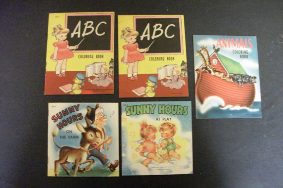 3 Children's Colouring Books Sunny Hours At Play / On The Farm and the ABC Coloring Book by hobohillfarm