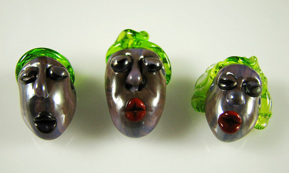 The Purple Family … 3 Handmade Lampwork Focal Head Beads SRA by mlbellino