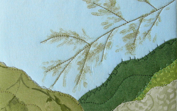 Fabric Postcard Quilted Landscape Cherokee Leaf Pounding Technique Handmade Greeting Card Postcard Art Outdoor Nature Fiber Art by SewUpscale