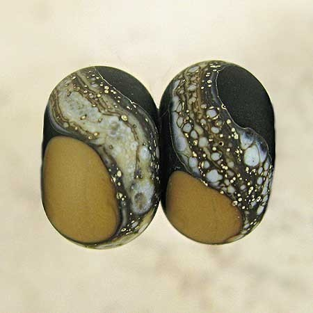Handmade Glass Lampwork Beads with Silvered Ivory Organic Web and Frosted Etched Finish Small 11x7mm Black and Tan Velvet by SpawnOfFlame