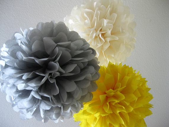 Tissue Pom Poms – Set of 10 Paper Poms – Your Color Choice- SALE – Birthday Decorations – Tea Party – Shower – Baptism Decor by SweetandSavvyDesigns