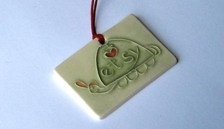 I LOVE ETSY ceramic gift tag etsy turtle heart charm pendant To-From handmade by Wisconsin artist by FaithAnnOriginals
