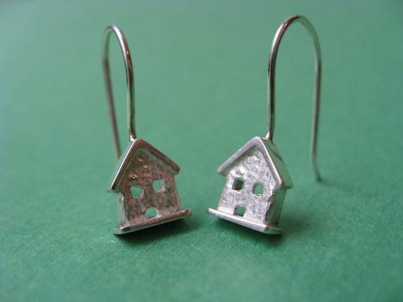 Tiny House Dangle Earrings. Sterling Silver. by JillKDavisJewelry