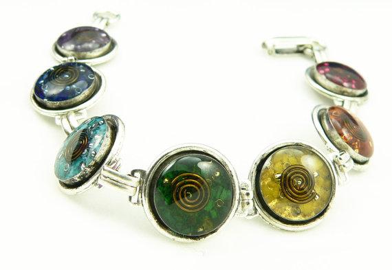 Orgone Energy Bracelet – Chakra Rainbow Bracelet – Chakra Gemstones – Balance and Healing – Artisan Jewelry by LKSoriginals