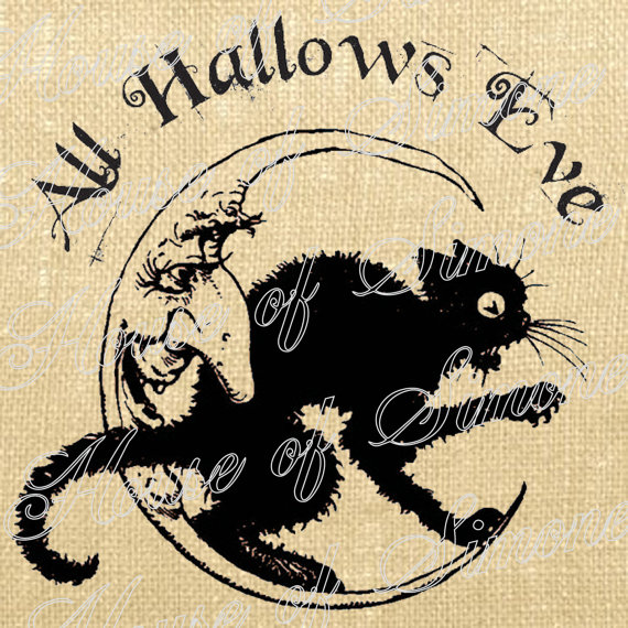 Halloween Cat Moon All Hallows Eve Vintage Download Graphic Image Art Jpeg Transfer burlap tote tea towels Pillow Tag Digital Sheet 1145 by HouseofSimoneArtDept