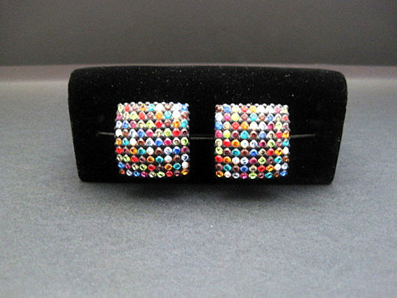 80s Disco Multi Color Rhinestone Clip On Earrings by BBBDesigns