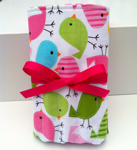 Crayon Roll Up with Crayola Crayons and Paper Pad – Birds in Spring – Ready to Ship by DancingKat