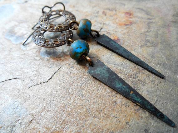Czech Glass, Filigree and Patinaed Brass Rustic Dangle Earrings by ChelseaGirlDesigns