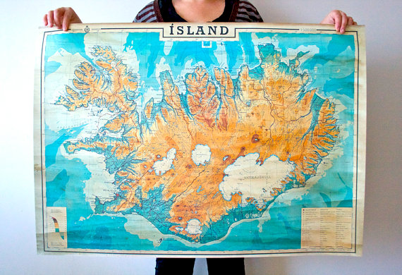 Old map of Iceland 38,5 & quot; x 27 & quot; (98,5 x 69,5 cm) Print, Historical map of Iceland, Island, Islandia by jositajosi