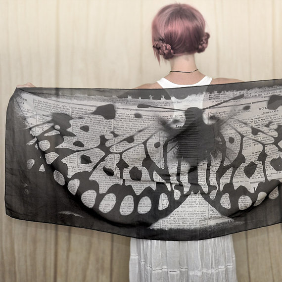 50 shades of grey Butterfly Wings scarf, shawl, sarong, wrap, palantin, pareo by RudmanArt