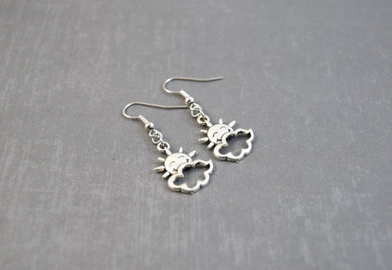 Silver Sun Earrings – Sun Jewelry – Nature Jewelry – Handmade Jewelry – Dangle Earrings – Weather Earrings – Kawaii Earrings by DoodieBear