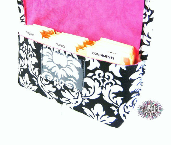 Coupon Organizer Holder Damask Fabric Black and White with Pink Lining by glowgirl16