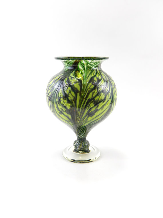 Hand Blown Glass Vase – Art Glass Vase – Bright Lime Green – Apple Green – Forest Green – Pulled Feather by ParadiseArtGlass