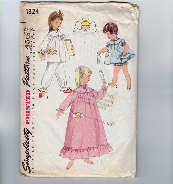 1960s Vintage Sewing Pattern Simplicity 1824 Girls Pajamas and Nightgown with Angel Transfer Size 4 Breast Chest 23 1960s 60s by historicallypatterns