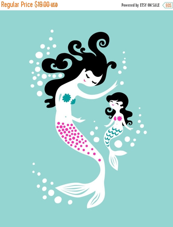 Fall Sale 8X10 & quot; mermaid mother & daughter giclee print on fine art paper. muted teal, fuchsia, black by ThePaperNut