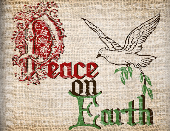 Antique Red Green Sepia Peace on Earth Dove Christmas Digital Download for Papercrafts, Transfer, Pillows, etc Burlap No. 3815 by AntiqueGraphiqueAged