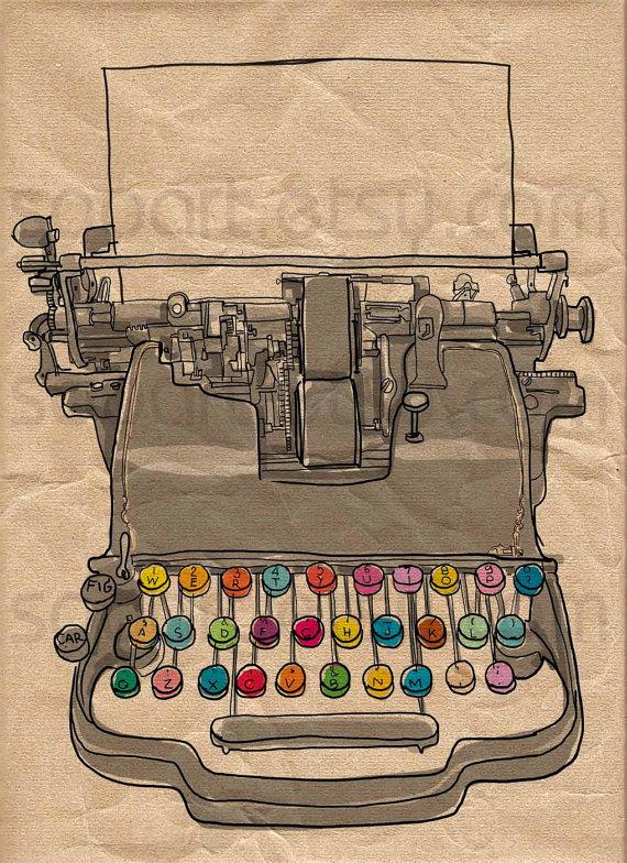 Typewriter vintage -Digital Image Sheet -Original Illustrate Drawing A4 Print transfer on Pillows, t-shirts, scrapbook, lampshades ETC.v by SooArt