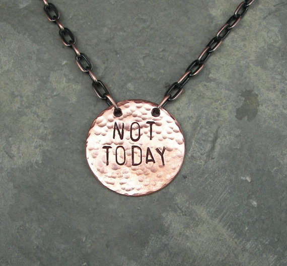 Game of Thrones Inspired Jewelry Not Today Necklace by ChrisClosetCreations