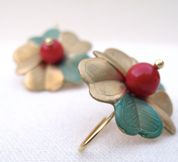 Brass jewelry, Vintage earrings, hand-aged metal flower and red coral. 18k gold plated sterling silver hook. by iomiss