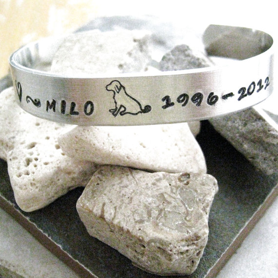 Pet Memorial Bracelet, hand stamped approx 3/8 inch wide, customizable, remembrance, loss of pet, pet keepsake, please read listing by riskybeads