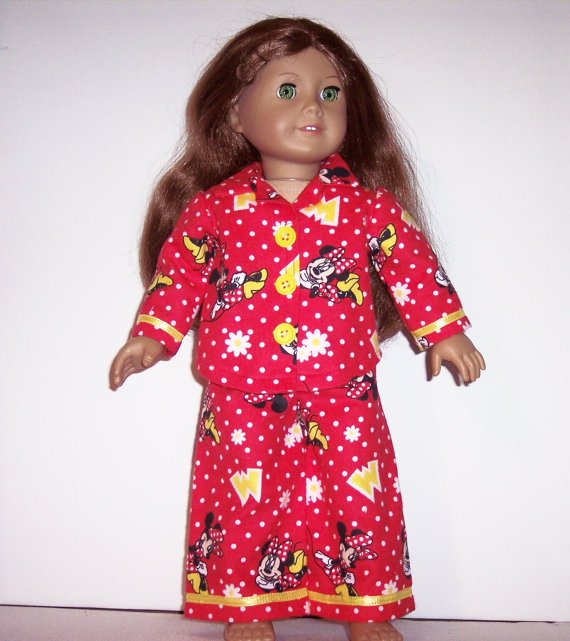 MINNIE MOUSE Red Pajamas – to fit American Girl or other 18 inch dolls by DollyDollClothes
