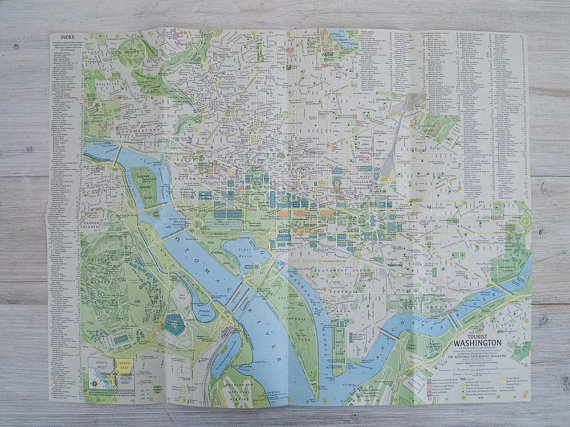 1964 vintage greater washington and tourist washington national geographic wall map by epochco