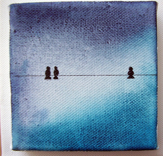 Original Watercolor on Canvas Painting Stormy Skies Mini Painting a 4 x 4 inches by katebuckleyart