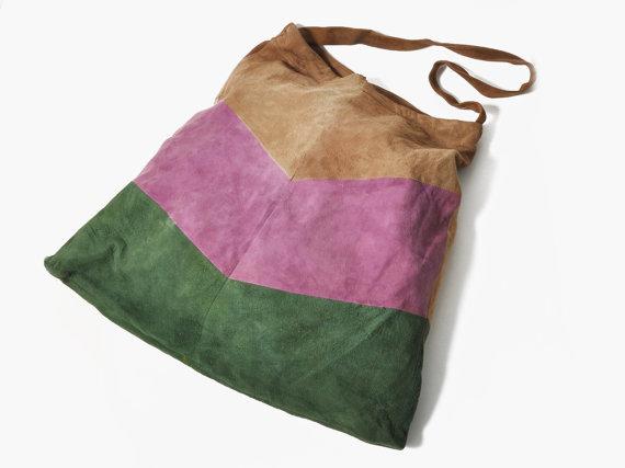 Vintage Color Block Suede Bag by maevenvintage