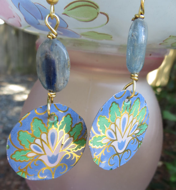 Upcycled Vintage Tin Earrings Blues and Greens with Kyanite by oldandnewboutique