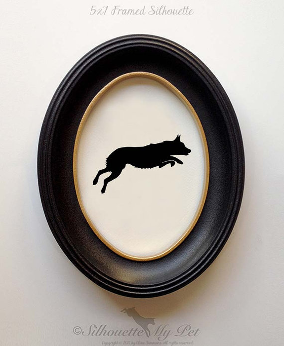 FRAMED Australian Cattle Dog Silhouette (Short Tail) – Hand-cut Original Dog Art Design: ACD03 by silhouetteMYpet