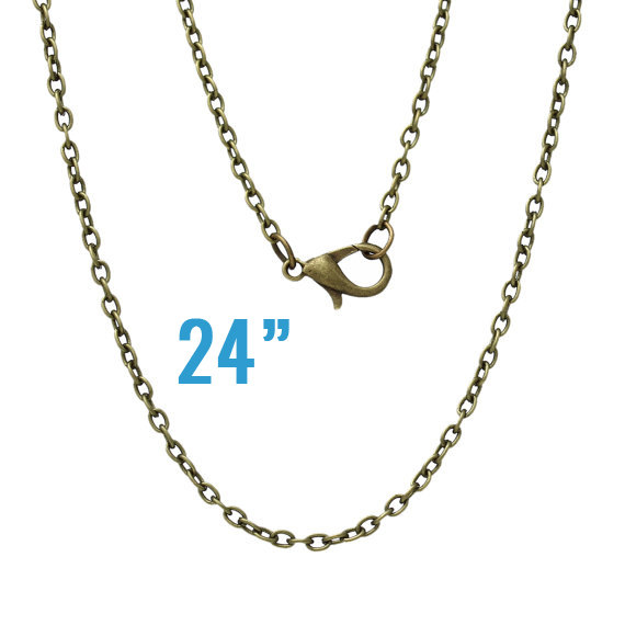Antique Bronze Necklaces – Cable Chains – 3x2mm – 24 & quot; Long – 3pcs – Ships IMMEDIATELY from California – CH432 by HopscotchCraftSupply