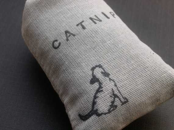 Organic Catnip (Cat Nip) Loose in a Hand Stamped Bag Cats by naturallyupnorth