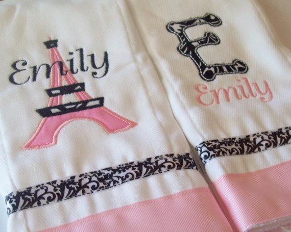 2 set of personalized burp cloths french tower and initial pink and black by littlemissbirdie
