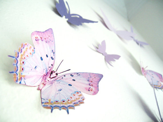 16 3D Wall Butterflies, Purple, Violet, Lavender, Butterfly, Paper, Wall Decor, 3D, Wedding Decor, Baby Shower, Girls Room, Cardstock by SimplyChicLily